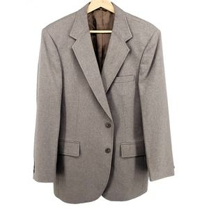 Haggar Mens Two-Button Suit Jacket Gray Pockets 42